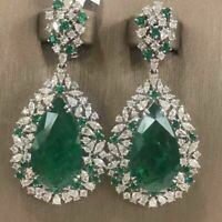 14k White Gold Over 3 CT Pear Cut Emerald & Diamond Cluster Party Wear Earrings