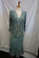 Ann Balon Medium  turquoise/green mother of the bride lacy dress and bolero