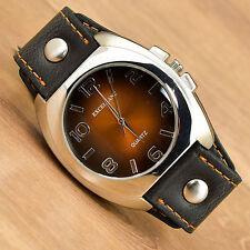 Armbanduhr XL Lederband Uhr Männeruhr Herrenuhr Watch Analoguhr Schwarz Braun