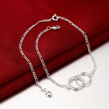 Wholesale Elegant 925 Sterling Silver Filled CZ Crystal Double Circle Anklet Gif