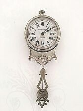 Reloj De Pared De Péndulo pequeño Shabby Chic Francés Vintage Mate Plata Sala De Estar