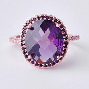 Full of Stone Oval Purple Amethyst Black Onyx Gem Rose Gold Women Ring Size 6-10