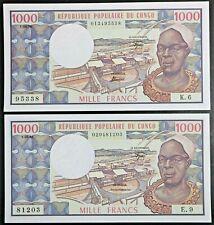 Congo Republic Lot of 2 Notes 1978 & 1982 1000 Francs