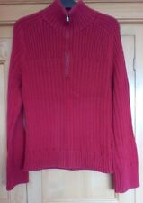Calvin Klein Ladies Orangy Red Long Sleeve Zipped Jumper size XL