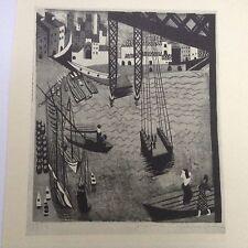 1940s Woodcut Print Harbour Scene by Janina Konarska: Boats, Shipyard