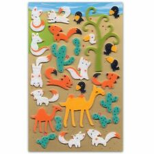 CUTE FOX & CAMEL FELT STICKERS Sheet Animal Fuzzy Raised Scrapbook Sticker