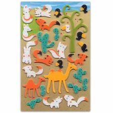 CUTE FOX & CAMEL FELT STICKERS Sheet Animal Fuzzy Raised Scrapbook Sticker