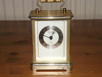 William Widdop Gilt Design Quartz Carriage Clock, Roman Numerals, Silver Dial.