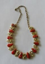 Gold Tone Necklace, Very Pretty Unique, Rare and Vintage Coral Matrix
