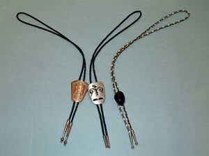 3 Lot Mens Bolo Ties Thunderbird signed Solid Copper + Stylized Bird Stone
