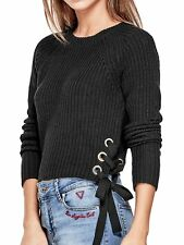 GUESS Sweater Women's Rib Knit Crop Pullover Sweater Lace-Up Sides XS Black NWT