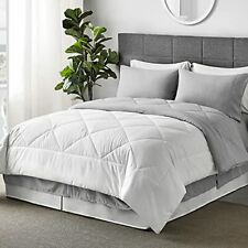 Bed in A Bag - 8 Pieces Reversible Bedding Sets, Bed Sets with Queen White
