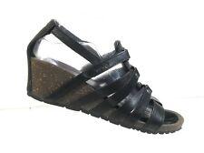 Teva 1008268 Cabrillo Women Black Leather Strappy Gladiator Wedge Sandals Size 8