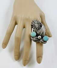 Abstract Turquoise Chief Ring Beautiful Large Native American