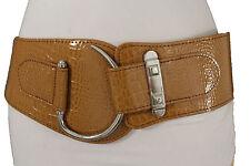 Hot Women Elastic Brown Hip Waist Fashion Corset Belt Big Silver Hook Buckle S M