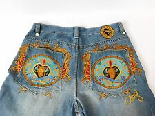 COOGI Fully Embroidered Jeans Medium Wash Factory Distress Size 38 x 34