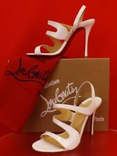 8b9907a83b6a Louboutin Vavazou 100 Latte Patent Leather Sling Back Sandals PUMPS 40