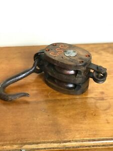 ANTIQUE BLOCK & TACKLE DOUBLE PULLEY MADESCO PRODUCT EASTON, PA