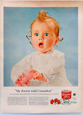 Vintage 1955 Carnation evaporated milk cute baby advertisement print ad