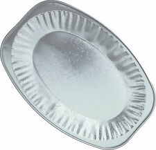 "10 x OVAL SILVER FOIL PLATTERS, 14"" EMBOSSED PLATTER, SERVING TRAY, PARTY BUFFET"