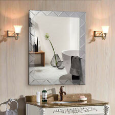 "21.5"" x 30.5"" Rectangle Wall Mirror Frame Angled Beveled Glass Panel Bathroom"