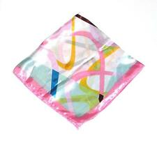 """SCARF Small Square 20"""" Pink Mint Yellow Turquoise Brown Lime SWIRLY STRIPES"""