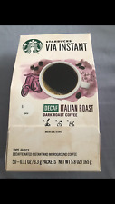 Starbucks VIA Instant Decaf Italian Roast Dark Roast Coffee(1box of 50) 03/2020