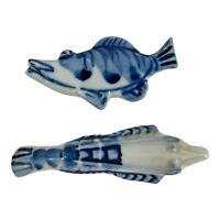Vintage 2 Japanese Porcelain Chopstick Rest Hashioki Flow Blue/White Gar Fish