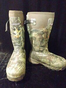 "Womens' Lacrosse Mossy Oak Alphaburly Pro 15"" 1600G Boots Size 9, Preowned  EUC"