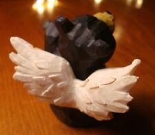 I Miss You Lodge Faux Wood Carved Black Bear Angel Log Cabin Figurine Decor New