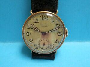 "A beautiful 1900 era 18ct gold  ""Movado"" Chronometer wristwatch.original buckle"
