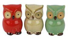 Set  of   3  Mini Ceramic Owl  Ornaments       BRAND NEW