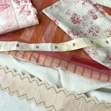Antique French fabric vintage material quilting pillow scraps patchwork pillows