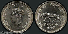 "RARE ""1947"" BRITISH INDIA ""King GEORGE VI EMPEROR"" 1 RUPEE"