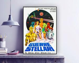 Vintage Movie STAR WARS, GUERRE STELLARI 1977 Italian Version Repro Poster Print