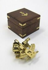 """3"""" SEXTANT BRASS IN WOODEN BOX ~ NAUTICAL ~ MARITIME DECOR ~ PIRATE ~ ASTROLABE"""