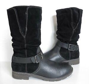 Ladies CLARKS Black Leather low heel Low-calf Biker boots Size UK 7 Exc Cond