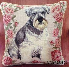 "Schnauzer Dog Needlepoint Pillow 14""x14"" NWT"