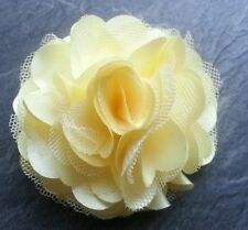"Girls Womens 3""satin & Net Full Flower Hair Clip,  corsage Lemon / light Yellow"