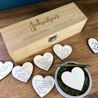 Wedding Guest Book Personalised Wooden Rustic Drop Box Heart Alternative Love