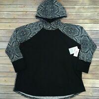 LuLaRoe 2XL AMBER HOODIE, Black with Black & White Sleeves; NWT sizes 22-24