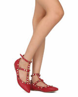 New Women Wild Diva Pippa-190 PU Pointy Toe Studded And Beaded Ankle Strap Flat