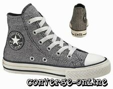 KIDS Boys Girl CONVERSE All Star BLACK HERRINGBONE HI TOP Trainers 27 UK SIZE 10