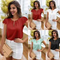 Fashion Summer Ladies Casual White Tops Blouse Short Sleeve Lace Chiffon T-Shirt