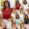 Summer Beach Womens Casual Blouse Top Short Sleeve Lace Chiffon T-Shirt Pullover