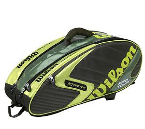 Wilson K Factor Badminton Racket Backpack Bag Lime Khaki Squash Sports WRR6061