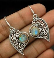 Natural Rainbow Moonstone 925 Sterling Silver Earrings Jewelry EZ11-1