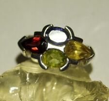 Silberring 57 Handarbeit Bunt Multistone Breit Ring Silber Massiv Rot Grün Gelb