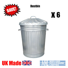 More details for (6) 90 litre galvanised dustbins tapered heavy duty best uk made! package