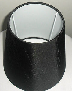 """Hand Made 8"""" Black Charcoal Satin Backed Duppion Cone Lampshade"""